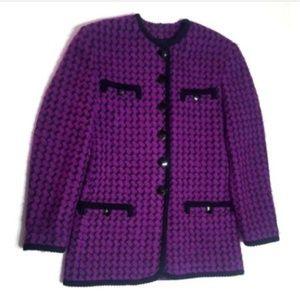 MONDI Escada 38 Medium Wool Print Jacket Blazer g6